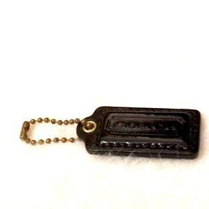💃🏻👛 Coach Leather Keychain Bag Charm Black Fob